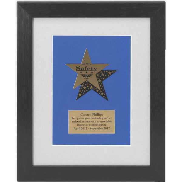 Printed Gold Brass Star Medallion Plaque