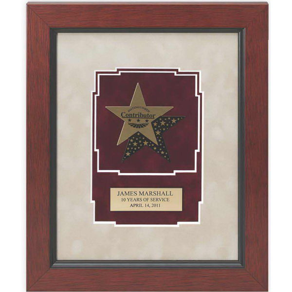Personalized Gold Brass Star Medallion Plaque