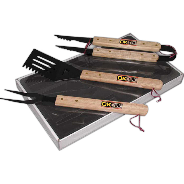 Printed Wood Handle BBQ 3 Pc Set