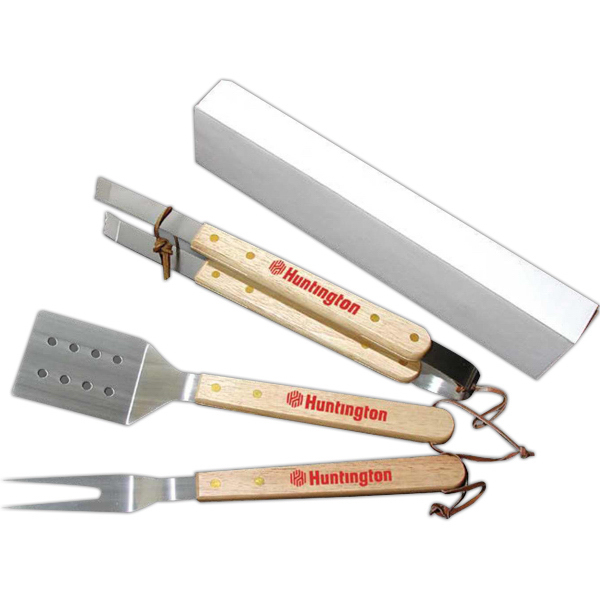 Personalized Wood Handle BBQ 3 Pc Set