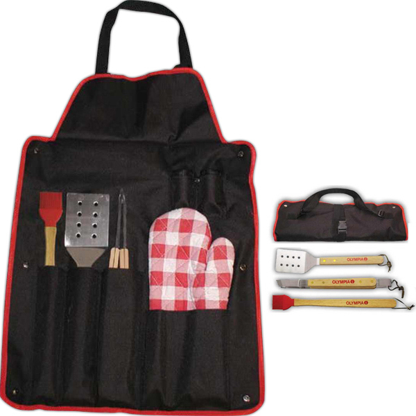Printed BBQ Set with Brush and Apron