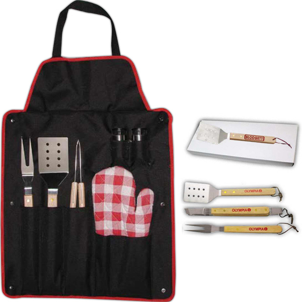 Printed BBQ Set with Fork and Apron