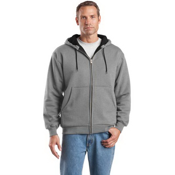 Customized Cornerstone® heavyweight full-zip hooded thermal sweatshirt