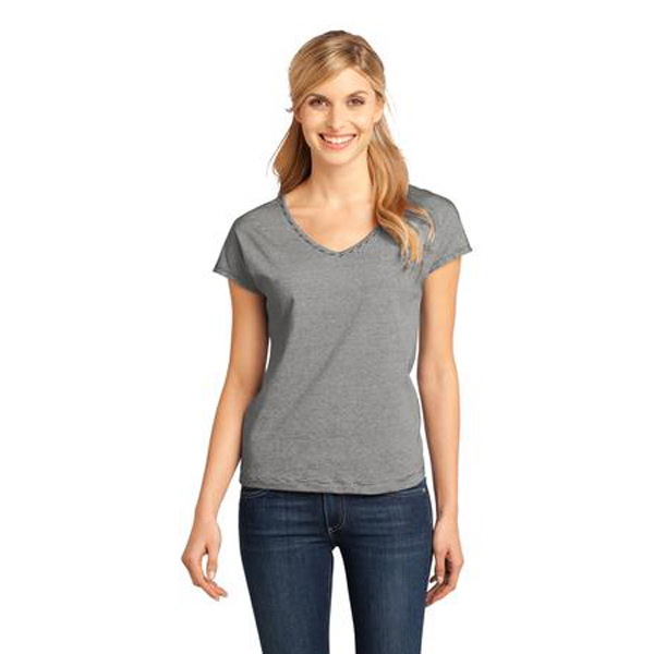 Imprinted District Made® Ladies' mini stripe dolman v-neck tee