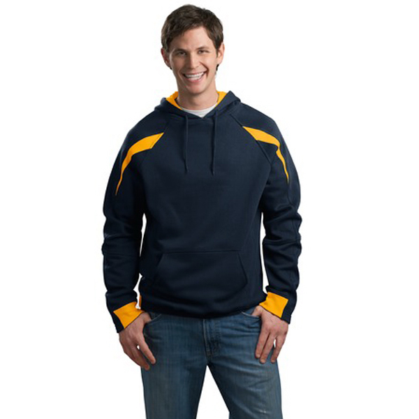 Printed Sport-Tek® color-spliced  hooded sweatshirt