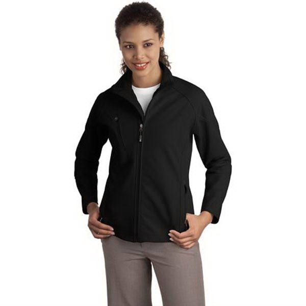 Printed Port Authority® ladies' textured soft shell jacket