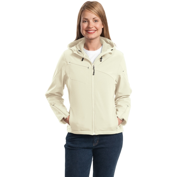 Promotional Port Authority® ladies' textured hooded soft shell jacket