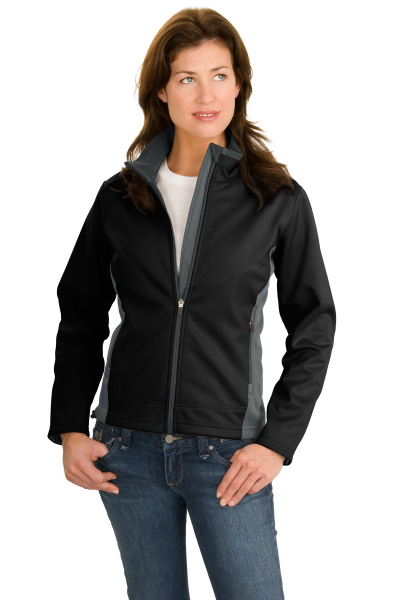 Printed Port Authority® ladies' two-tone soft shell jacket