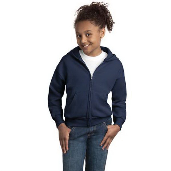 Imprinted Hanes® youth Comfortblend® full-zip hooded sweatshirt