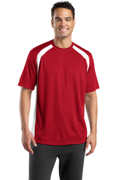 Imprinted Port Authority® Sport-tek® Dry Zone colorblock crew