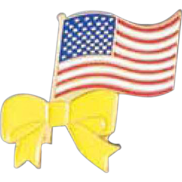 Promotional American Flag with Yellow Ribbon Pin