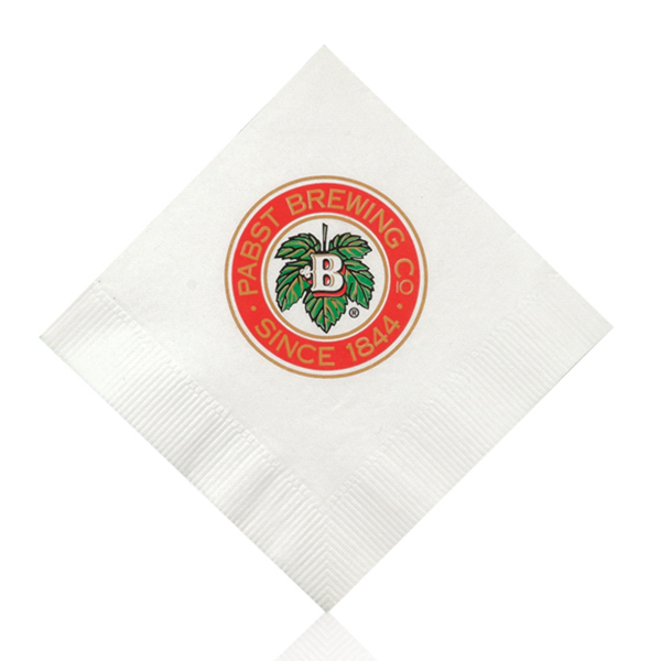 Printed White Beverage Napkin