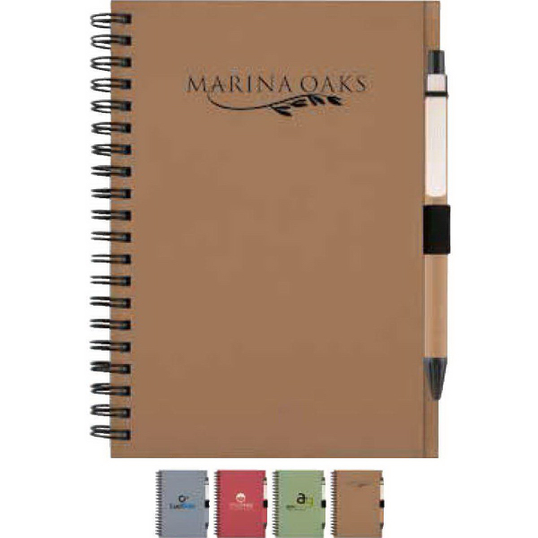 Imprinted Recycled Notebook with Matching Paper Pen