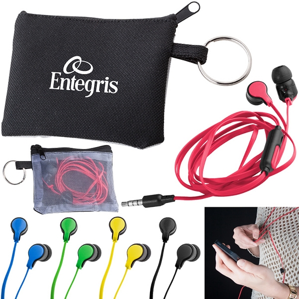 Printed Taffy Microphone Flat Wire Earbuds