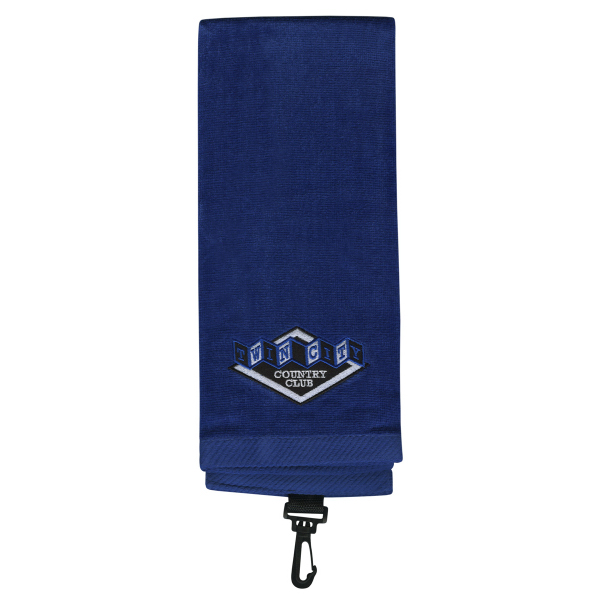 Promotional Tri-fold Premium Cotton Velour Golf Towel