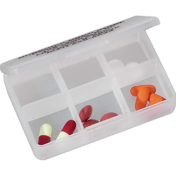 Printed 6 Compartment Pill Box