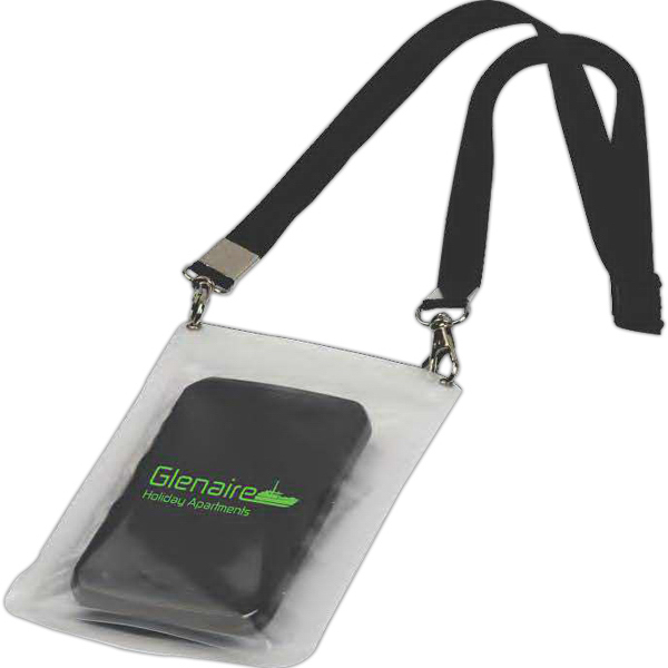 Imprinted Water Resistant Cell Phone Pouch With Lanyard