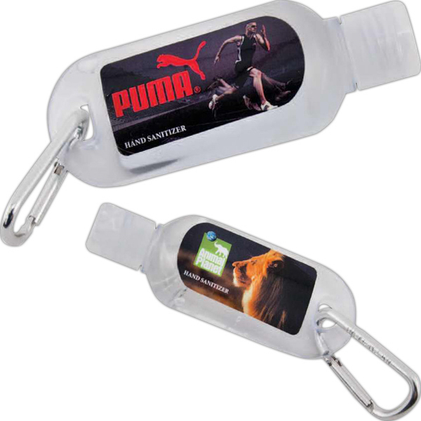 Promotional 1 oz hand sanitizer with carabiner