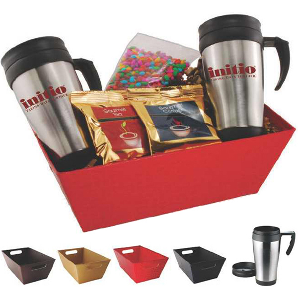 Imprinted Gift tray with mugs and snacks