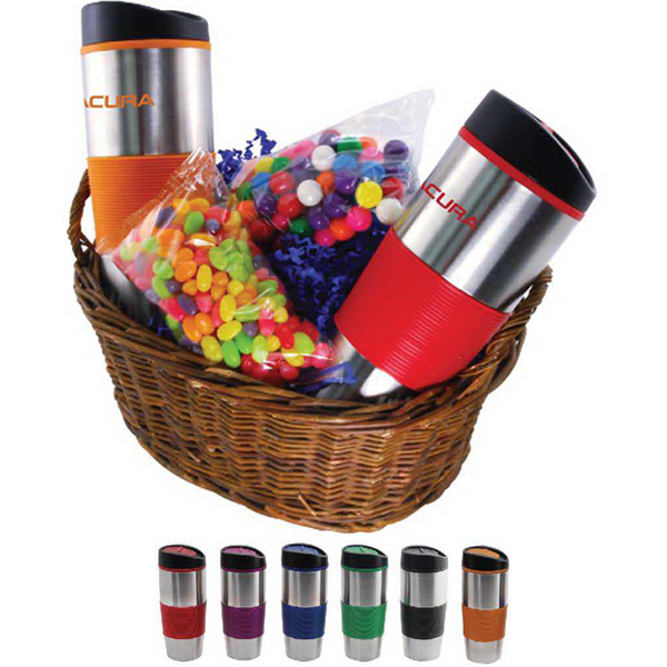 Promotional Gift basket with fills and drinkware