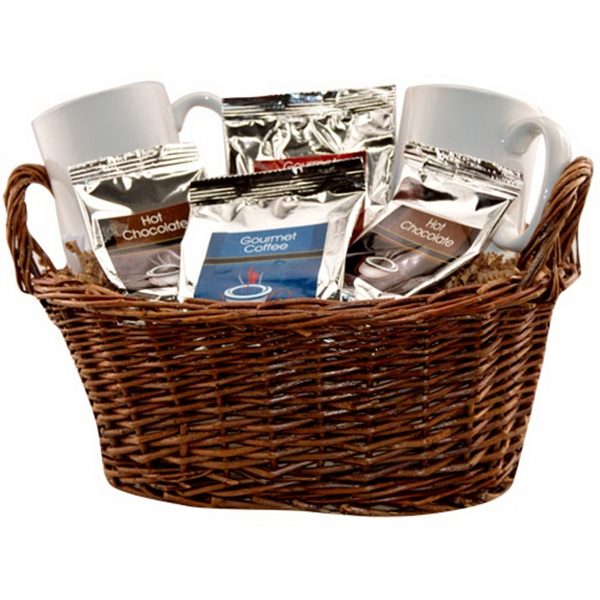Customized Gift basket with coffee, tea and mugs