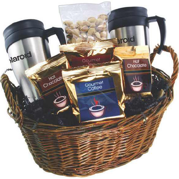 Promotional Gift basket with mugs, beverages and filler