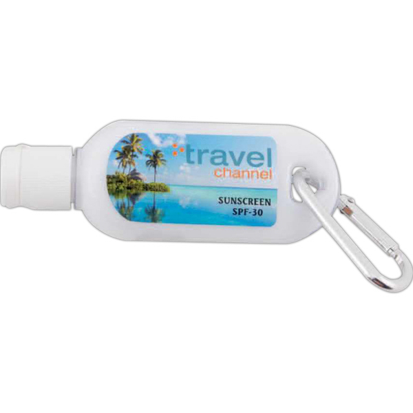 Promotional 1 oz sunblock with carabiner SPF30