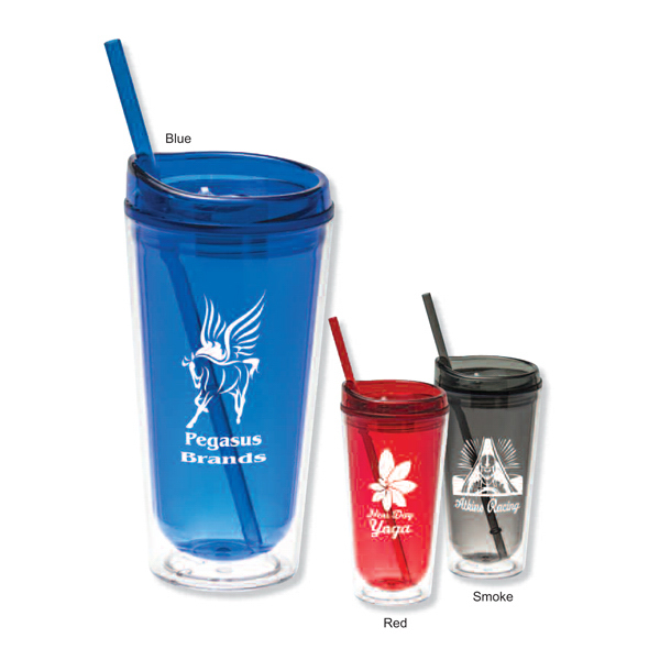 Promotional San double wall tumbler with straw - 16 oz