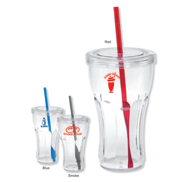 Imprinted San tumbler with straw - 25 oz