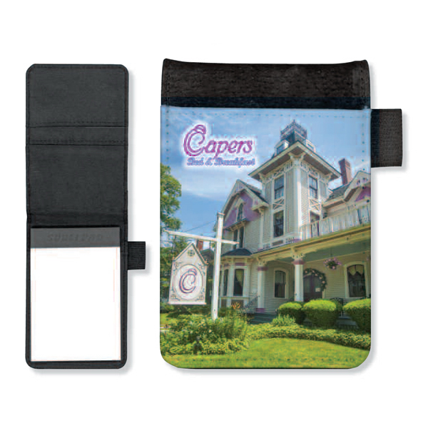 Printed Full color small note pad with pen holder