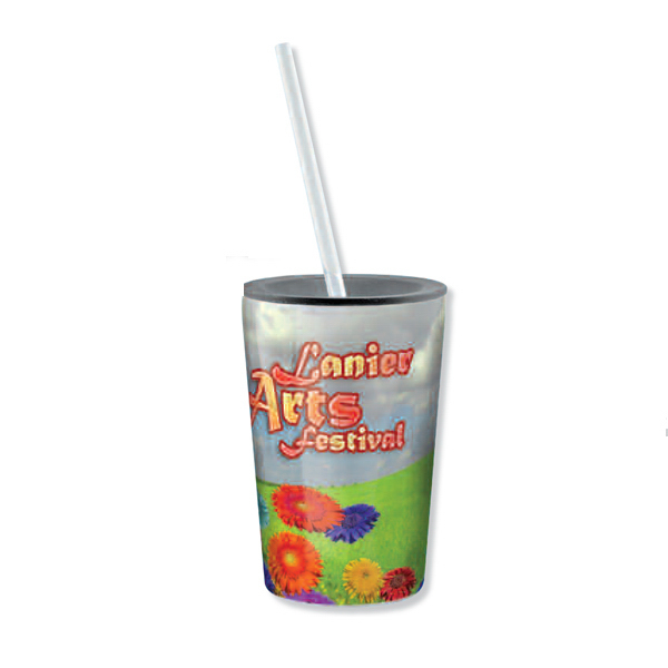 Promotional Full color stainless steel tumbler with straw - 11 oz