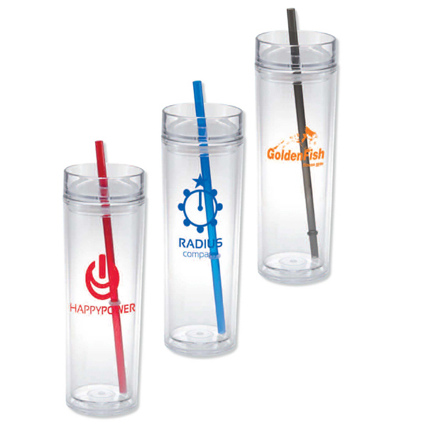 Customized San double wall tumbler with straw - 16 oz
