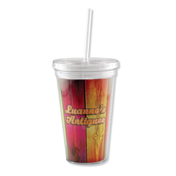 Imprinted Full color insert tumbler with straw - 16 oz