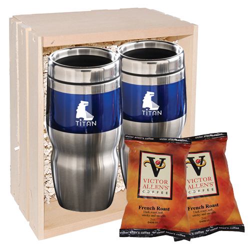 Promotional Wood crate and coffee set