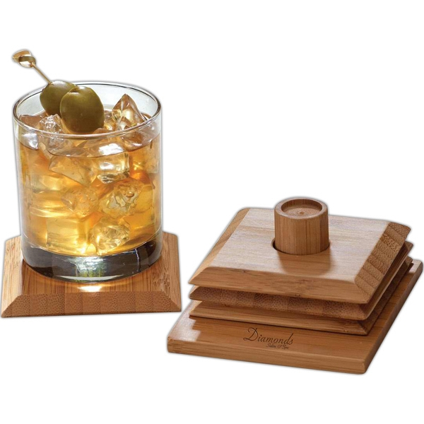 Imprinted Bamboo Coaster Set
