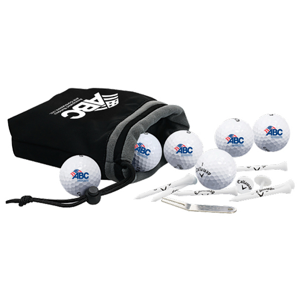 Imprinted 6-Ball pouch with tees, divot Tool and golf balls