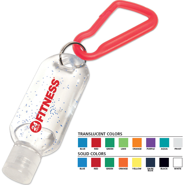 Customized 1.8 oz Antibacterial Gel with Carabiner