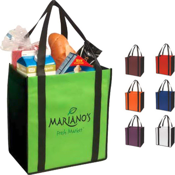 Printed Non-woven two-tone grocery tote