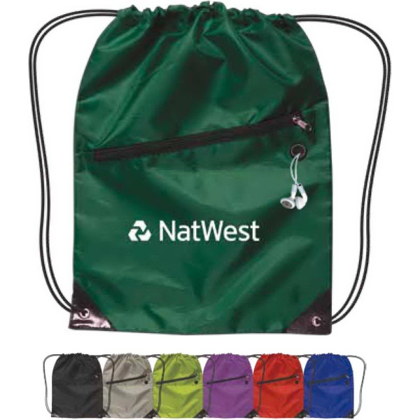 Promotional Drawstring Backpack w/ Zipper