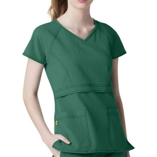 Custom Wink Ladies Raglan Sleeve Mock Wrap Scrub Top