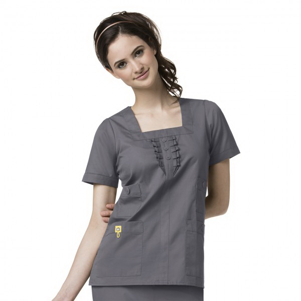 Custom Wink Ladies Four Pocket Ruffle Neck Scrub Top