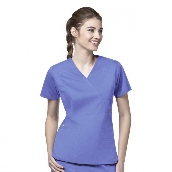 Imprinted Wink Ladies Mock Wrap Multi-Pocket Scrub Top