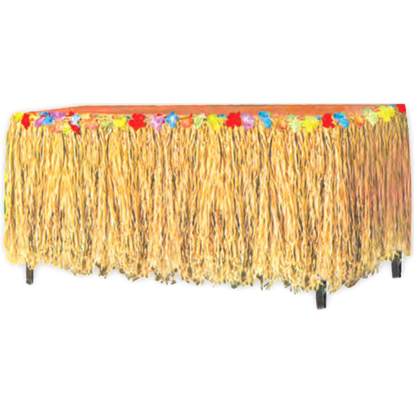 Custom Raffia table skirt with flowers