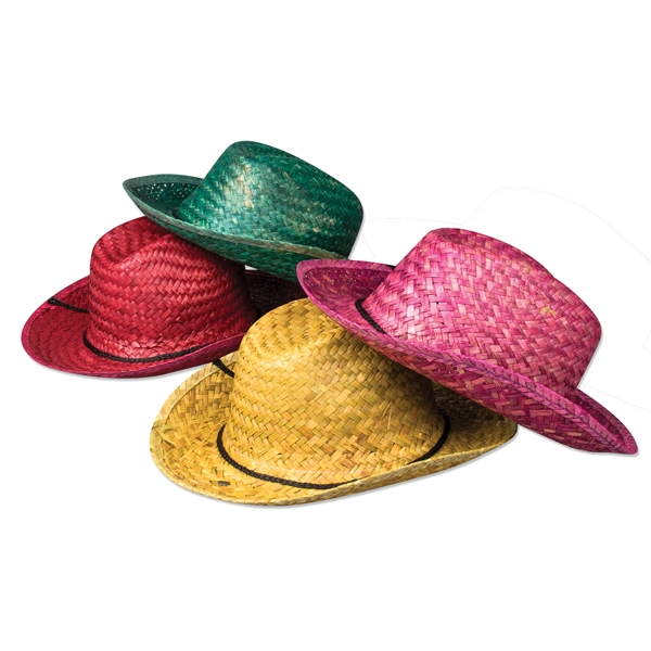 Promotional Neon straw cowboy hats