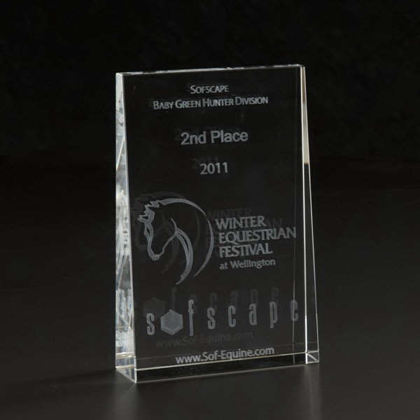 Promotional 3D Crystal Wedge Small Award
