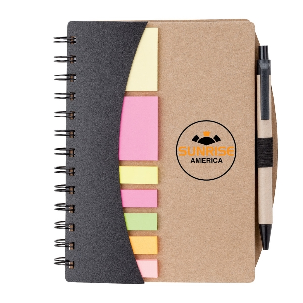 Promotional Notebook with Pen, Flags & Sticky Notes