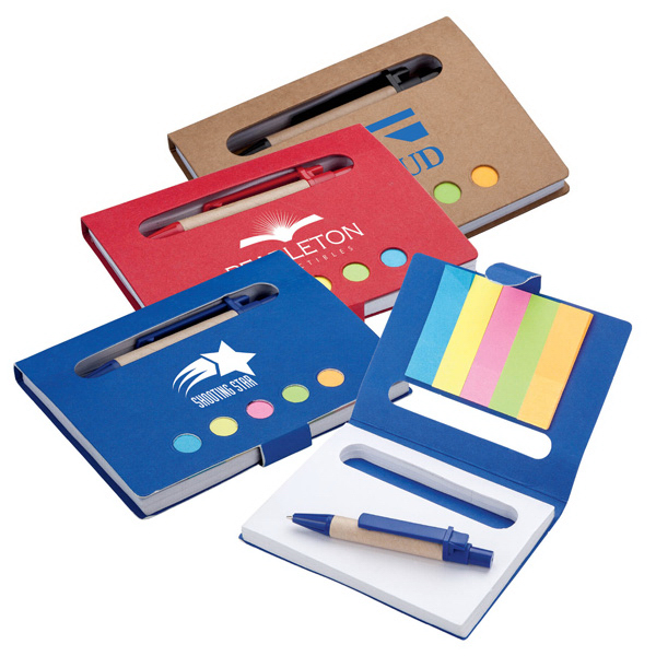Imprinted Eco Mini Notebook with Pen & Flags
