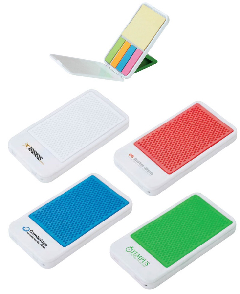 Personalized Mobile Device Stand with Sticky Notes