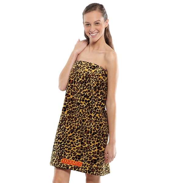 Promotional Women's Leopard Print Terry Velour Spa Wrap