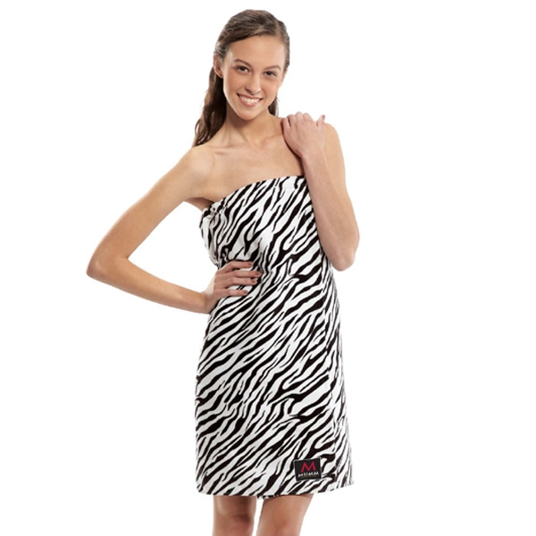 Imprinted Women's Zebra Print Terry Velour Spa Wrap